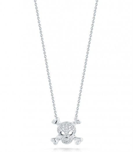 Roberto Coin Tiny Treasures Diamond Skull And Crossbones 18kt White Gold Necklace .20ctw