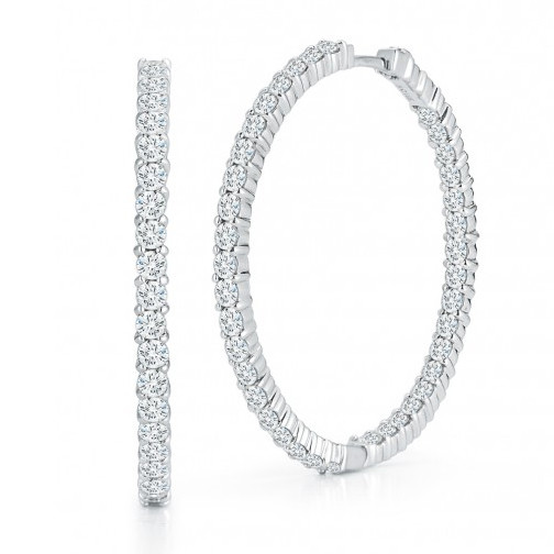 Roberto Coin Circle Of Life 18kt White Gold & Diamond Hoop Earrings