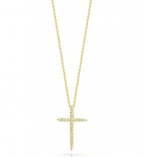 Roberto Coin Tiny Treasures Necklace 18K Yellow Gold Diamond Cross Necklace .10ctw