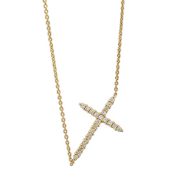 Roberto Coin Yellow Gold Diamond Sideways Cross Pendant with Chain Necklace