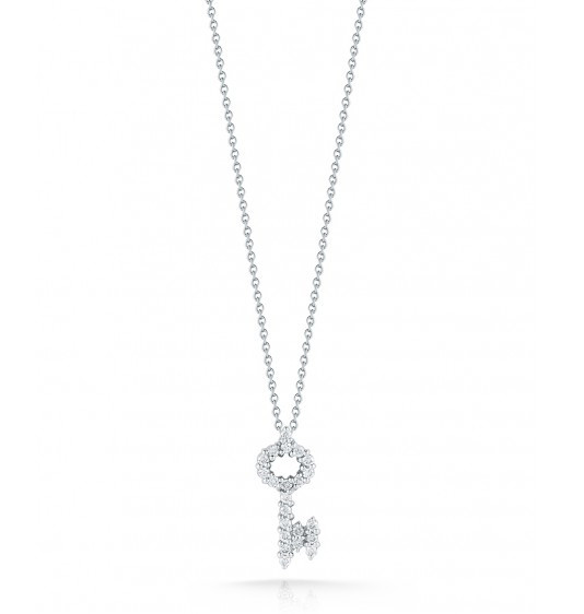 Roberto Coin Tiny Treasures Diamond Key Necklace .26ctw