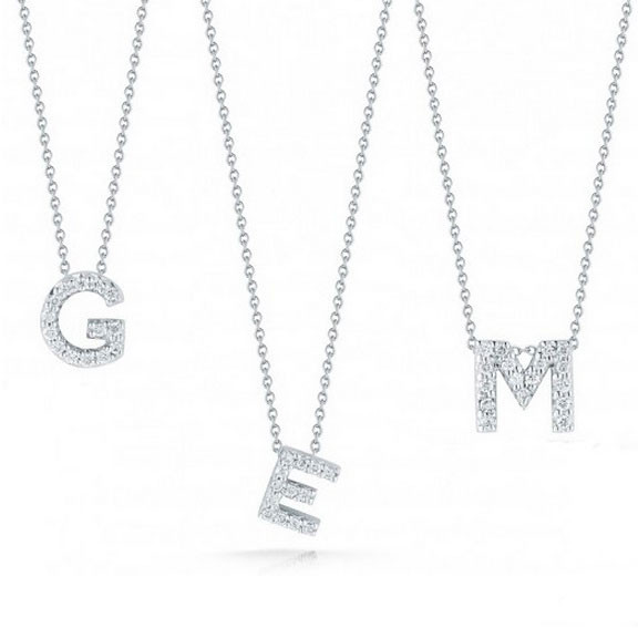 Roberto coin pave diamond letter pendant necklaces aloadofball Image collections