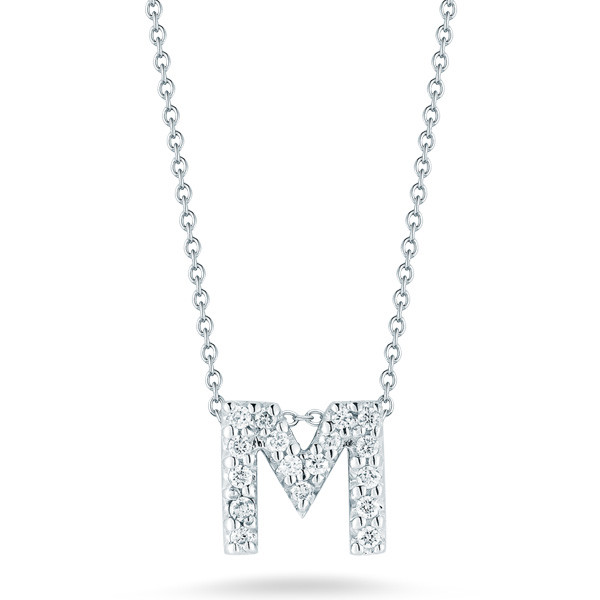 5e4573727d967 Roberto Coin Initial Thoughts White Gold Diamond Initial M Necklace