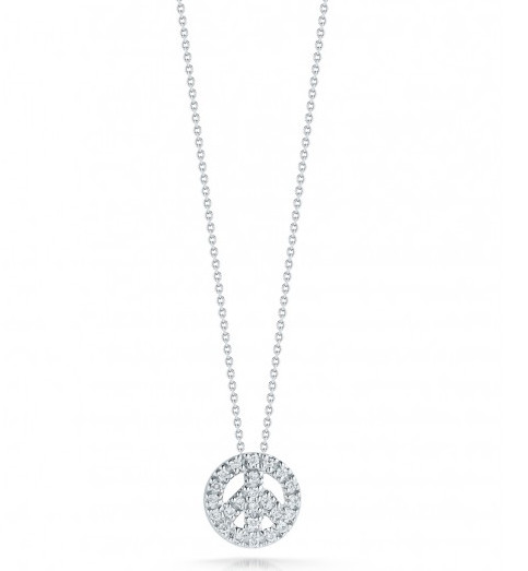 Roberto Coin Tiny Treasures Peace Sign 18kt White Gold & Diamond Necklace .11ctw