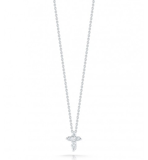 Roberto Coin Tiny Treasures Baby Cross 18kt White Gold & Diamond Necklace .11ctw