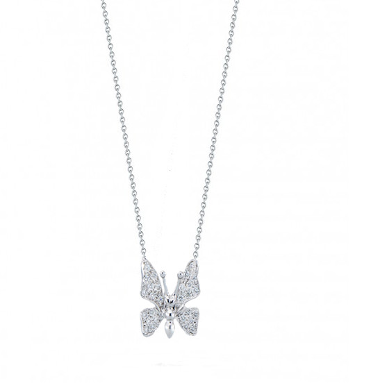 Roberto Coin Tiny Treasures Diamond Butterfly Necklace