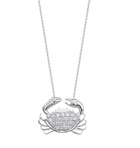 Roberto Coin Tiny Treasures Crab With Diamonds Necklace
