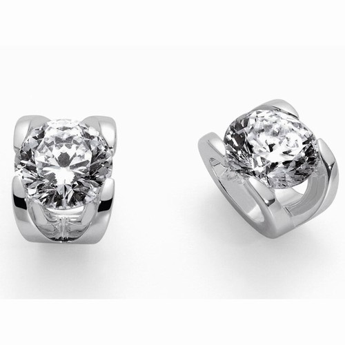 Roberto Coin Cento C Profile Diamond & 18kt White Gold Stud Earrings