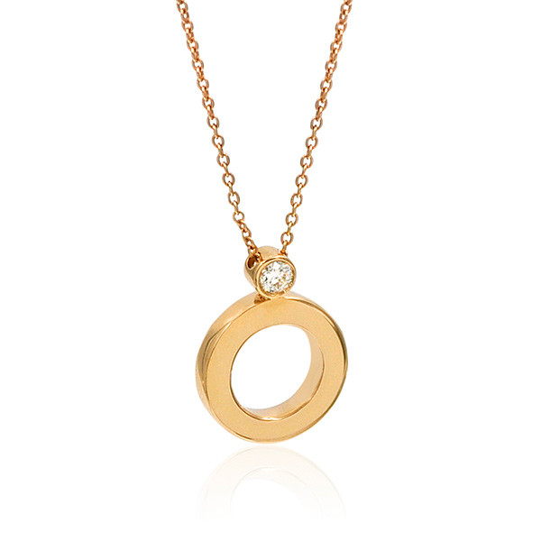 "Roberto Coin Cento Rose Gold Mini ""O"" Pendant Single Diamond Chain"