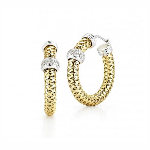 Roberto Coin Primavera Diamond Station Hoop Earrings .47ctw