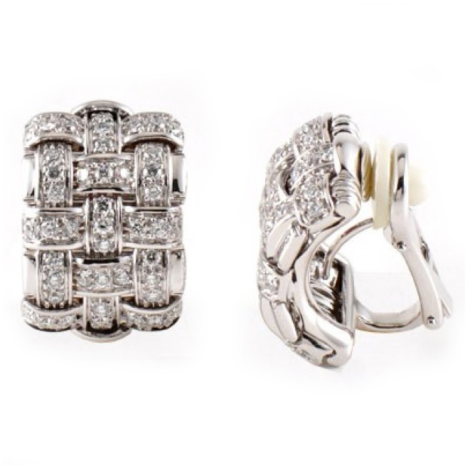 Roberto Coin Appassionata 18K White Gold Diamond Earrings