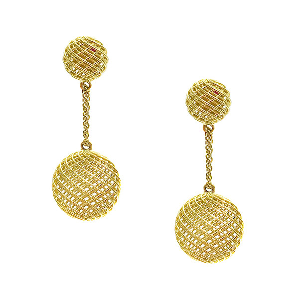 Roberto Coin Silk Yellow Gold Round Drop Earrings