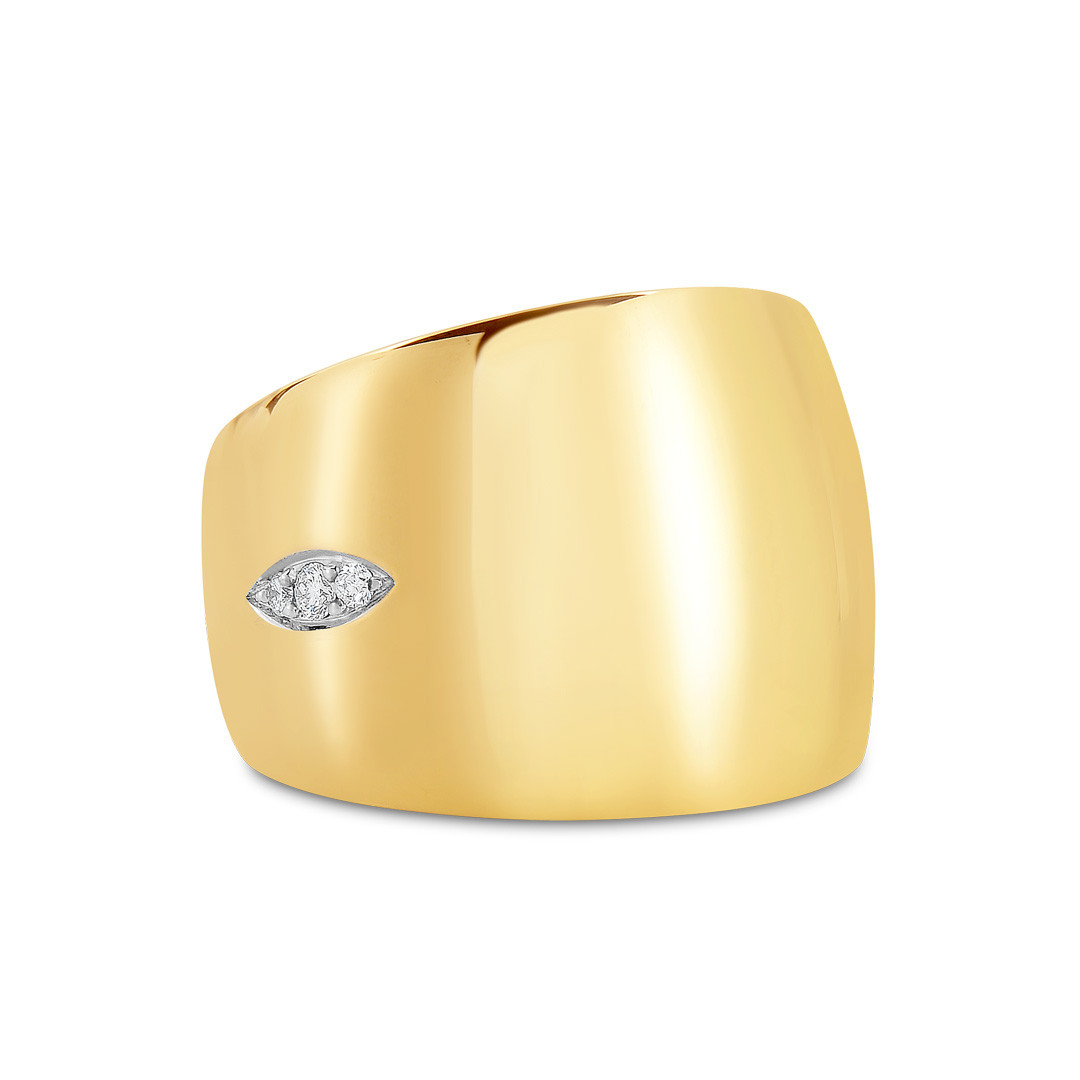 Roberto Coin Golden Gate Wide Diamond Ring