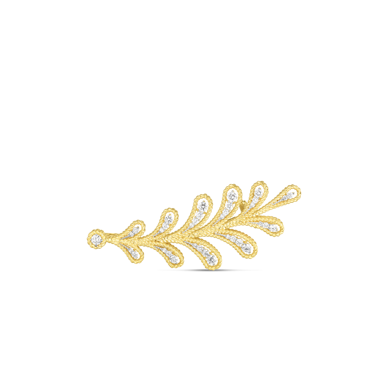 Roberto Coin Byzantine Barocco Leaf Brooch in 18K Gold front view
