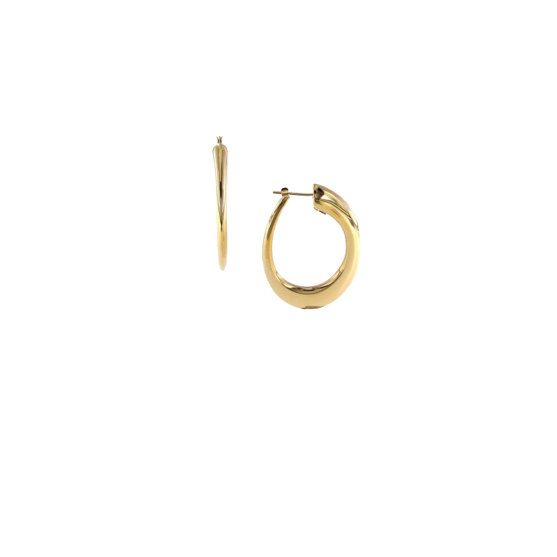 Roberto Coin Thick Oval Hoops in 18K Yellow Gold