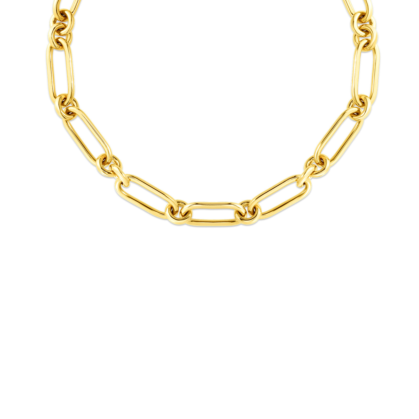 Roberto Coin Link Necklace in 18K Gold front view