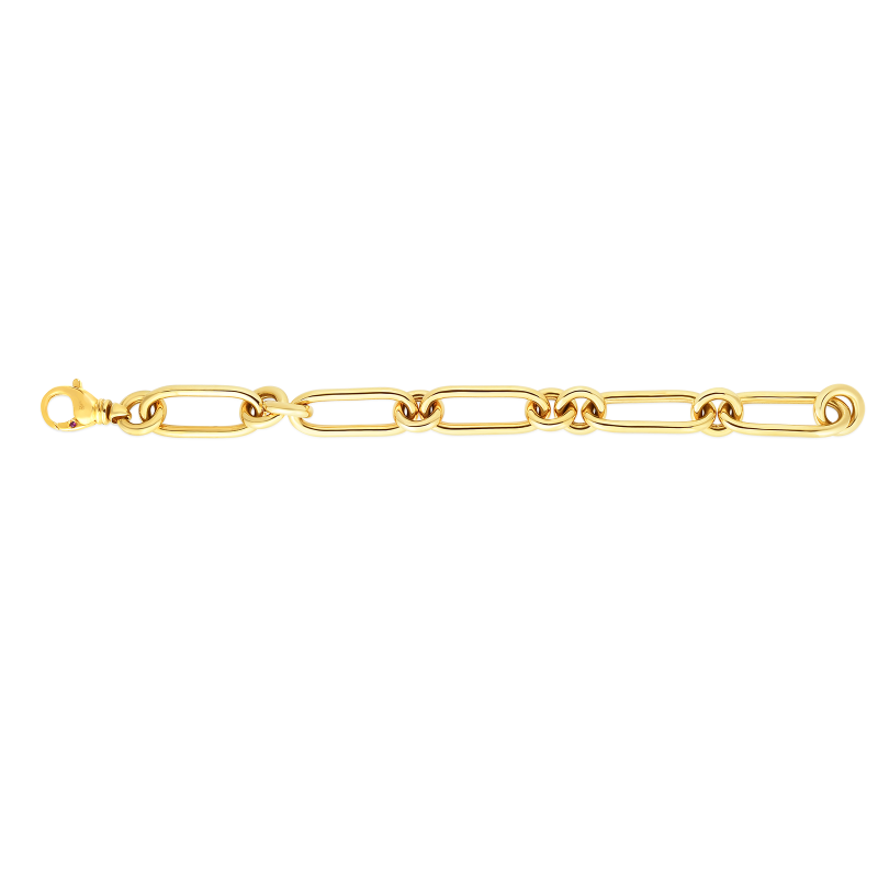 Roberto Coin Link Bracelet in 18K Gold length view