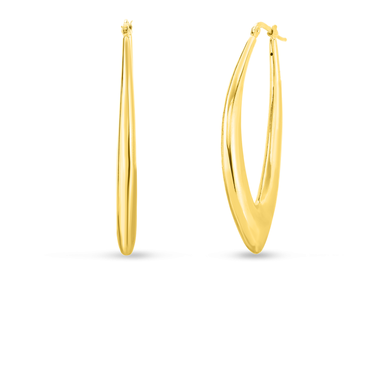 Roberto Coin Marquis Shaped Hoop Earrings in 18K Gold main view