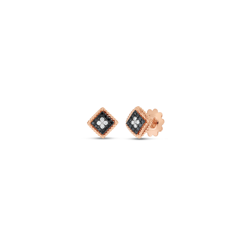 Roberto Coin Palazzo Ducale Diamond Square Stud Earrings in 18K Gold front view
