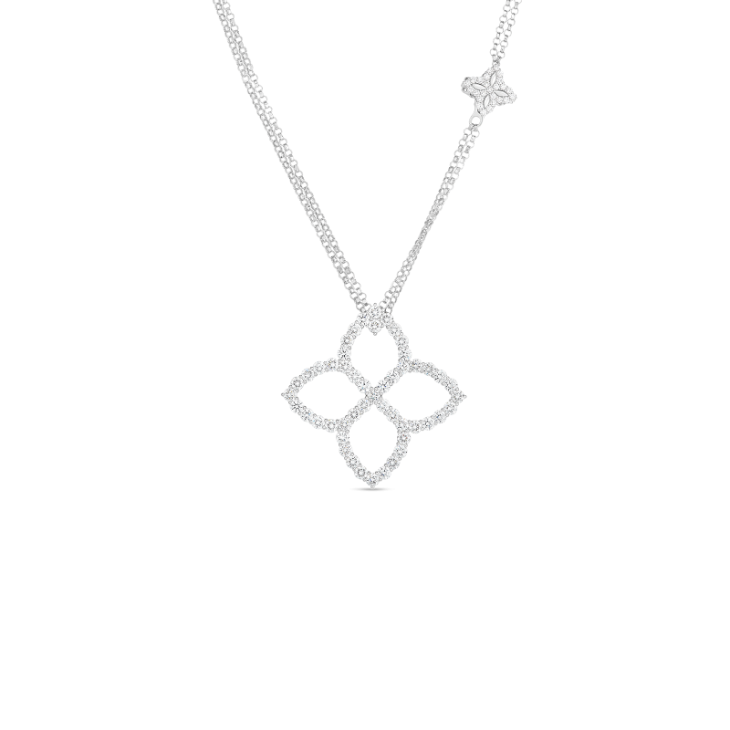 Roberto Coin Princess Flower Outline Diamond Necklace in 18K Gold front view