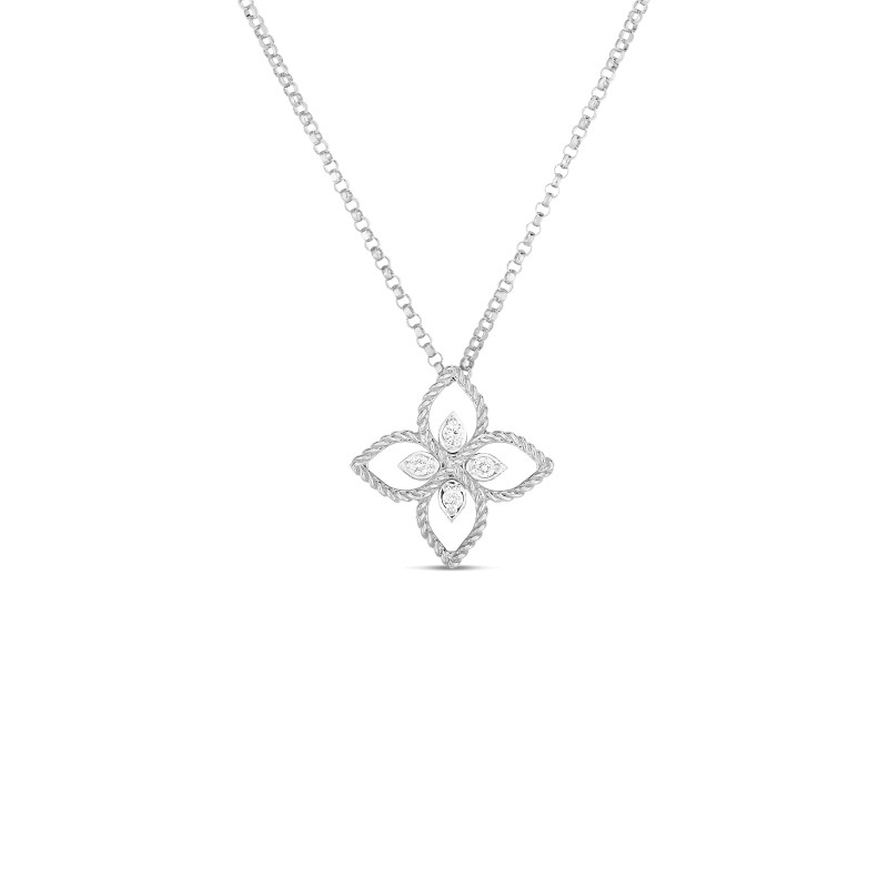 Roberto Coin 18K Gold Principessa Flower Necklace front view