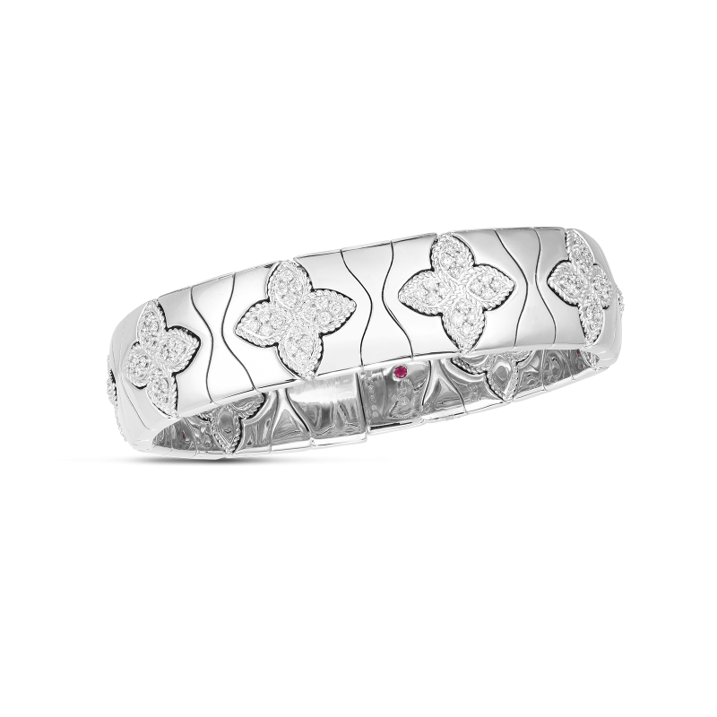 Roberto Coin Royal Princess Flower Wide Bangle in 18K White Gold