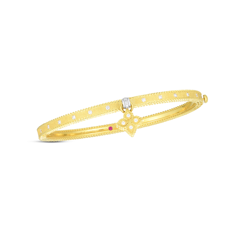 Roberto Coin Symphony Princess Flower Bangle with Diamonds in Yellow Gold