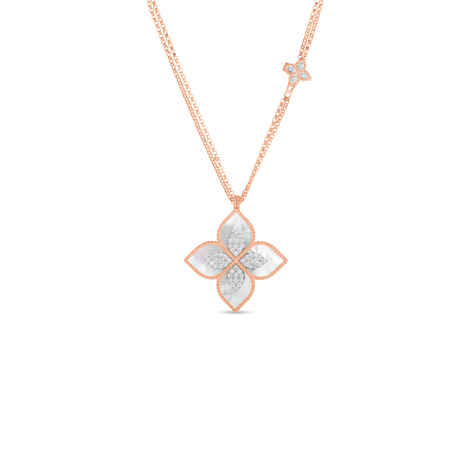 Roberto Coin Venetian Princess Mother of Pearl Double Chain Necklace in 18K Gold