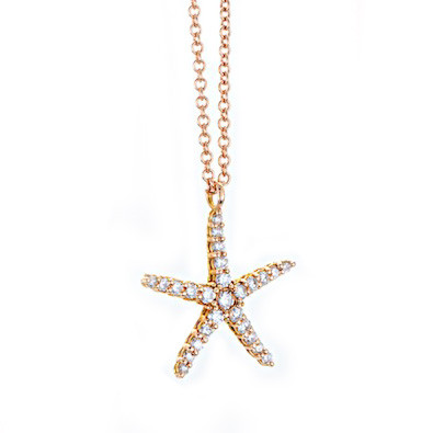 See Life Rose Gold Diamond Starfish Pendant Necklace
