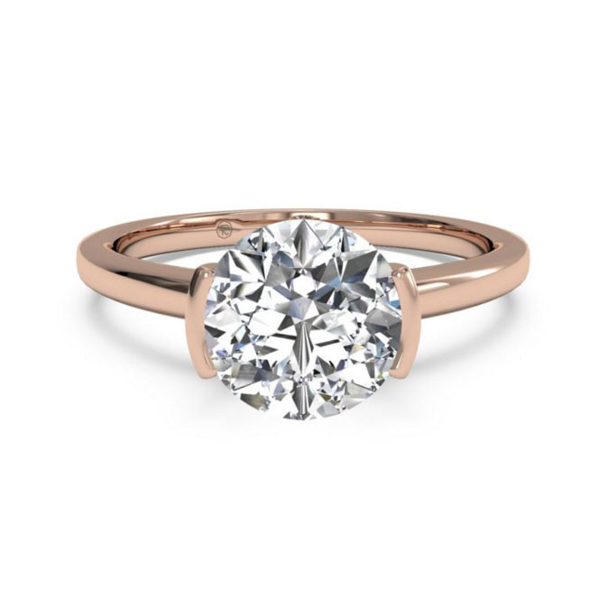 Ritani Bezel-Set Rose Gold Solitaire Engagement Mounting