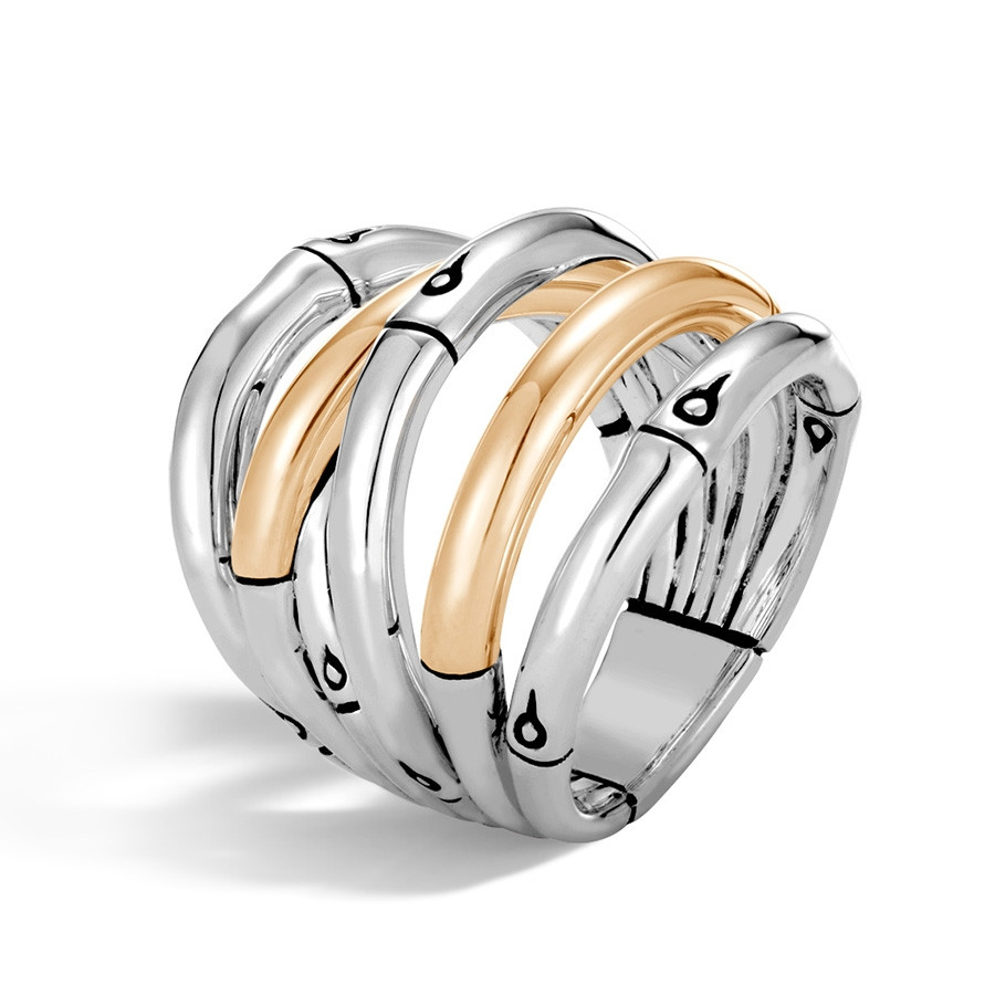 John Hardy Wide Gold & Silver Bamboo Overlapping Band Ring Angle View
