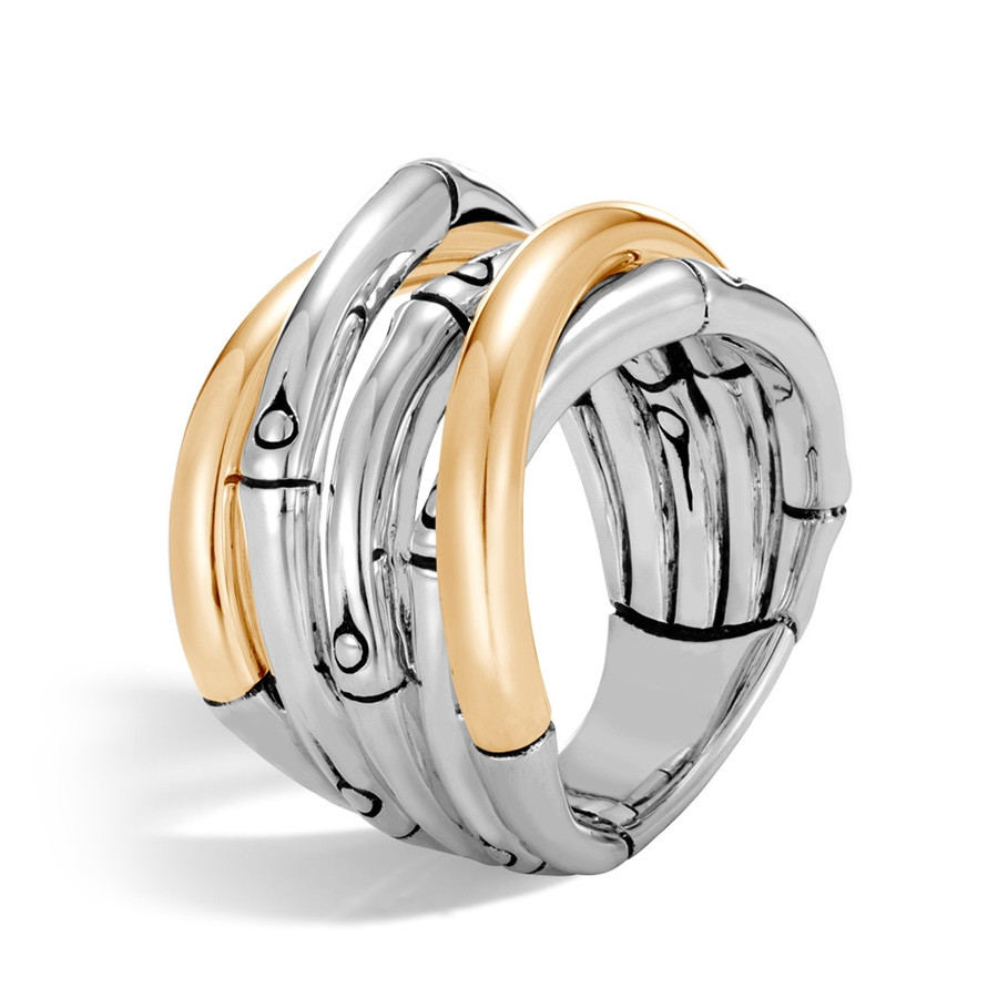 John Hardy Gold & Silver Bamboo Overlapping Band Ring Angle View