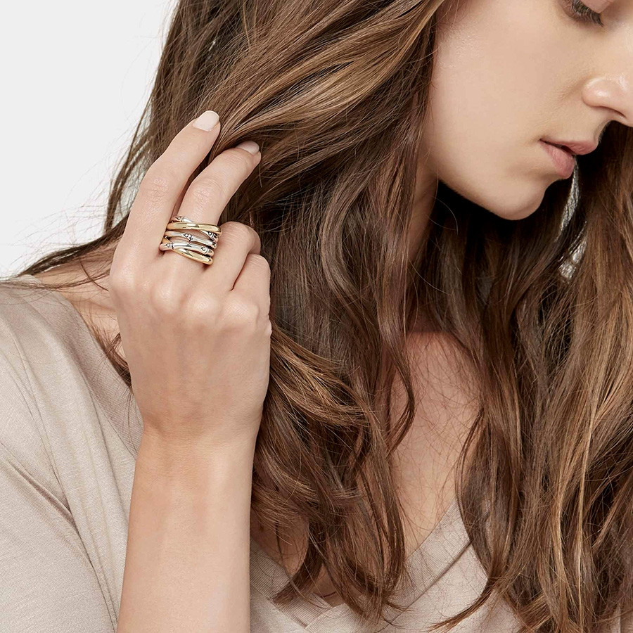 John Hardy Gold & Silver Bamboo Overlapping Band Ring on Model