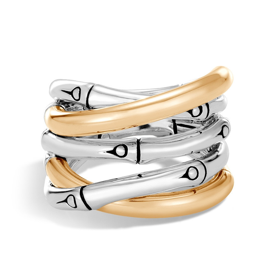 John Hardy Gold & Silver Bamboo Overlapping Band Ring Top View