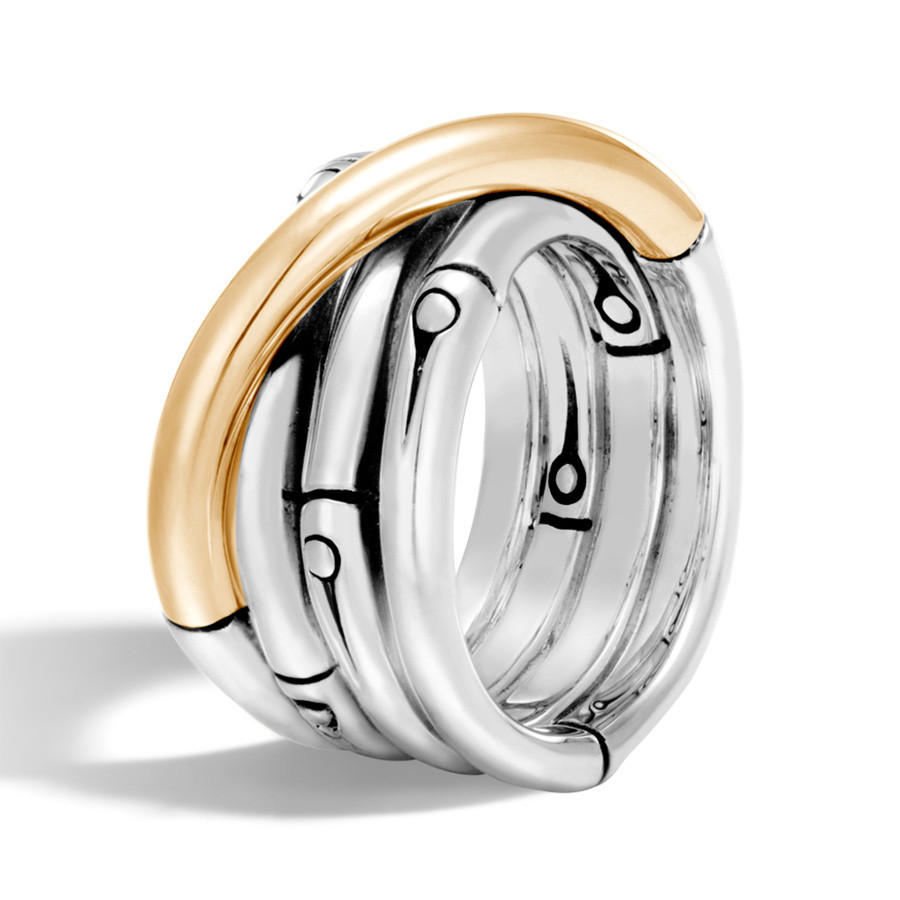 John Hardy Bamboo Gold & Silver Overlapping Band Ring