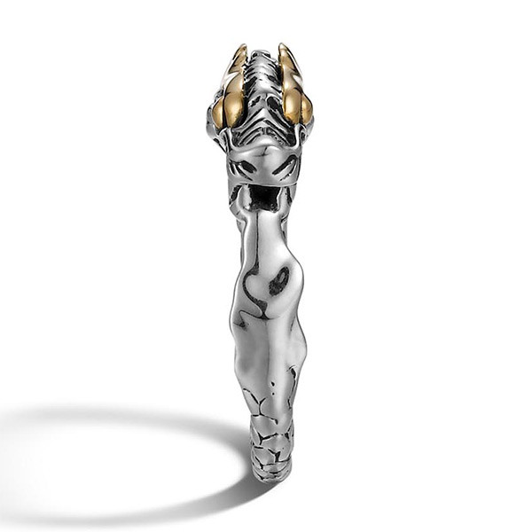 John Hardy Slim Dragon Gold & Silver Naga Ring Edge View