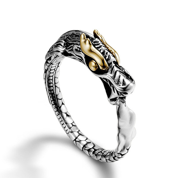 John Hardy Slim Dragon Gold & Silver Naga Ring Top View