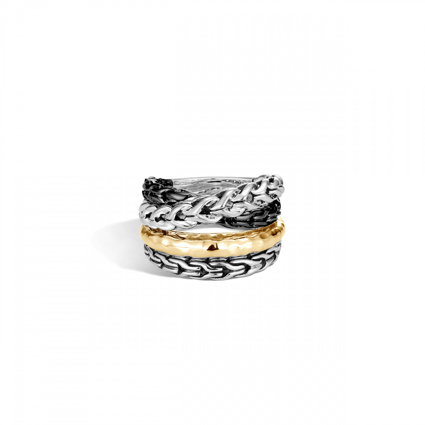 John Hardy Asli Classic Chain Two-Tone Crossover Ring