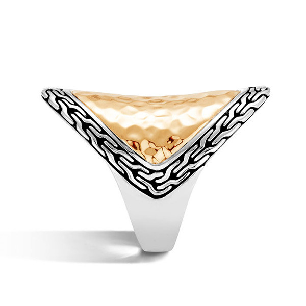 John Hardy Gold & Silver Heritage Hammered Marquise Ring Side View