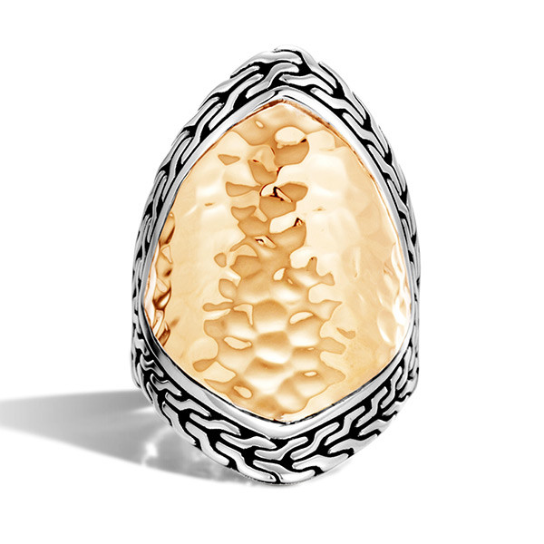 John Hardy Gold & Silver Heritage Hammered Marquise Ring Front View