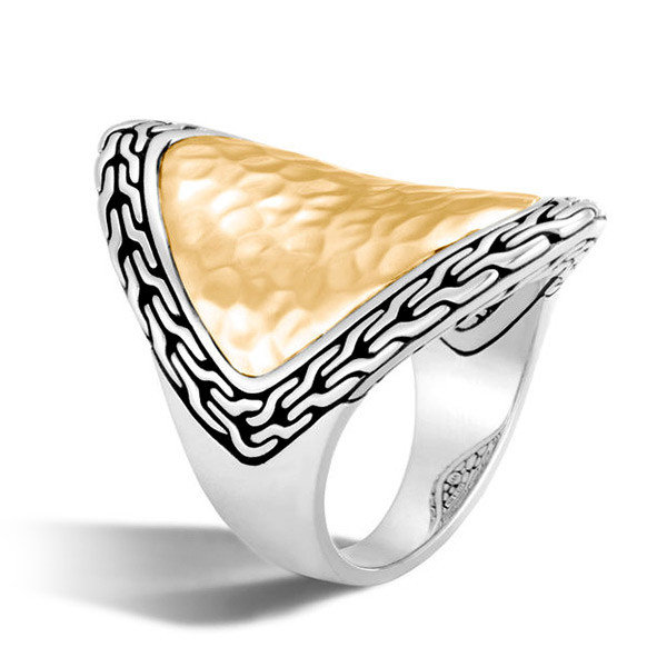 John Hardy Gold & Silver Heritage Hammered Marquise Ring