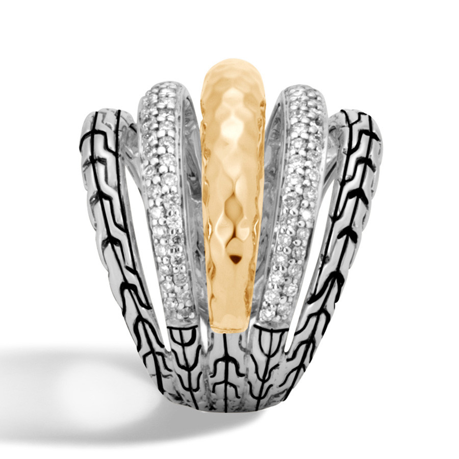 John Hardy Classic Chain Hammered Gold & Silver Wide Diamond Ring Side View