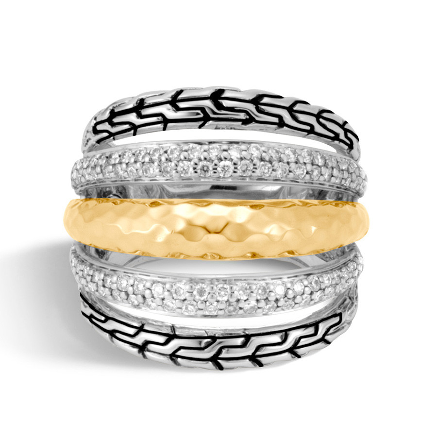 John Hardy Classic Chain Hammered Gold & Silver Wide Diamond Ring Front View