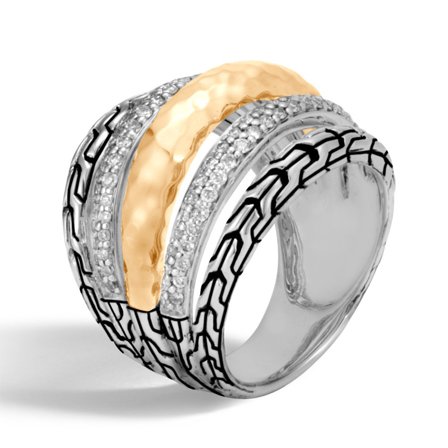 John Hardy Classic Chain Hammered Gold & Silver Wide Diamond Ring Angle View