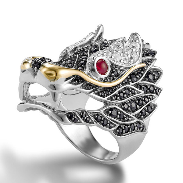 c580a4c10f715 John Hardy Naga Gold Silver Lava Dragon Ring with Black and White Sapphire