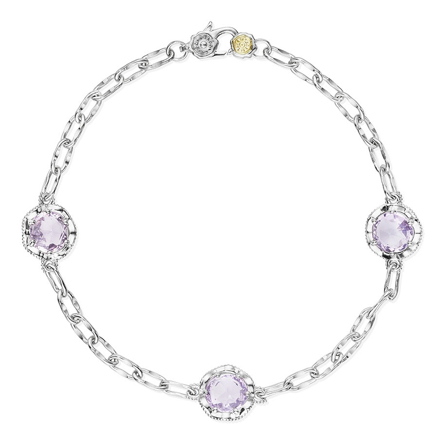 Tacori Silver Petite Rose Amethyst Lilac Blossoms Station Bracelet