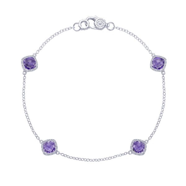 Tacori Crescent Embrace Amethyst Station Bracelet in Sterling Silver
