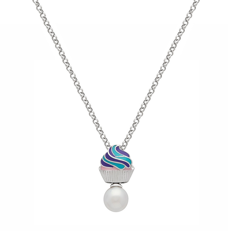 Honora Girls Silver Cupcake & Pearl Pendant Necklace