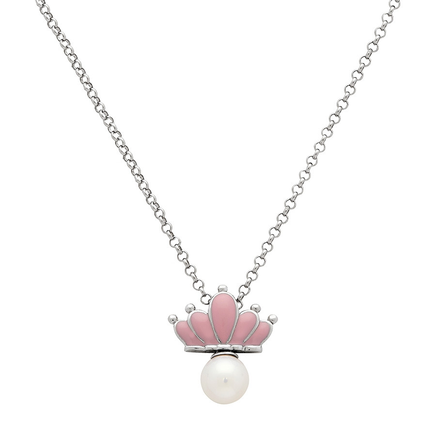 Honora Girls Silver Crown & Pearl Pendant Necklace