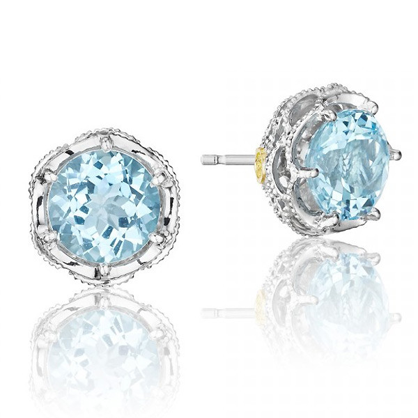 Tacori 18K925 Island Rains Sky Blue Topaz Round Stud Earrings